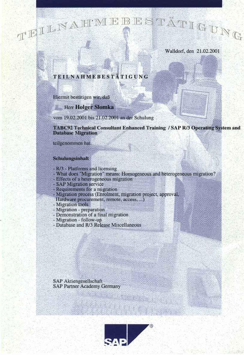 It systemsanalyst slomka freelancer unix sap sap trainings 2001 1betcityfo Image collections
